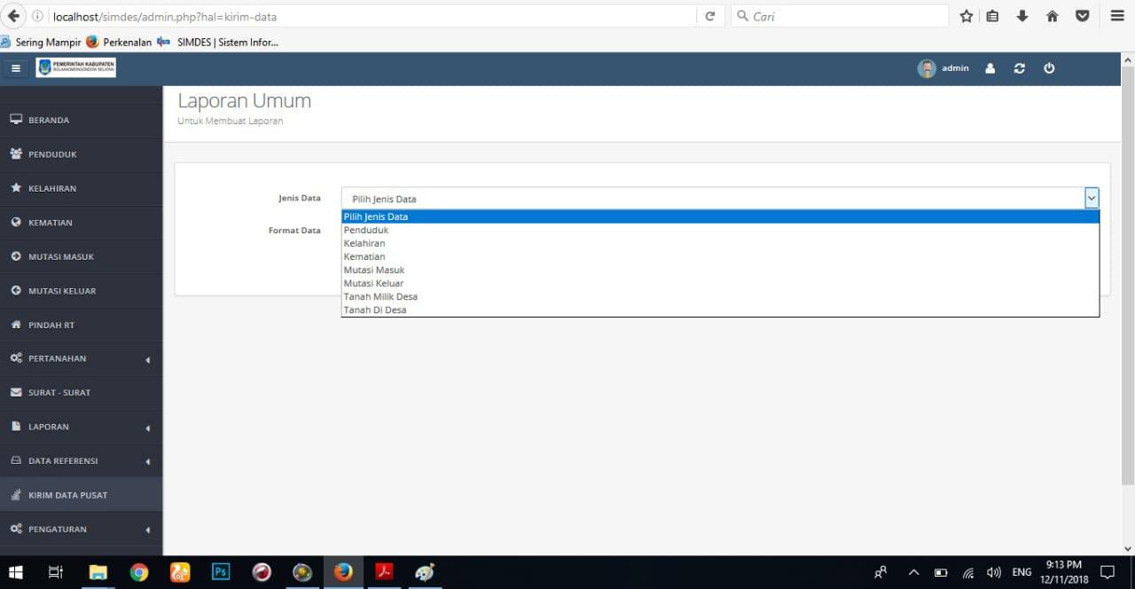 Tampilan Laporan umum aplikasi sistem informasi desa